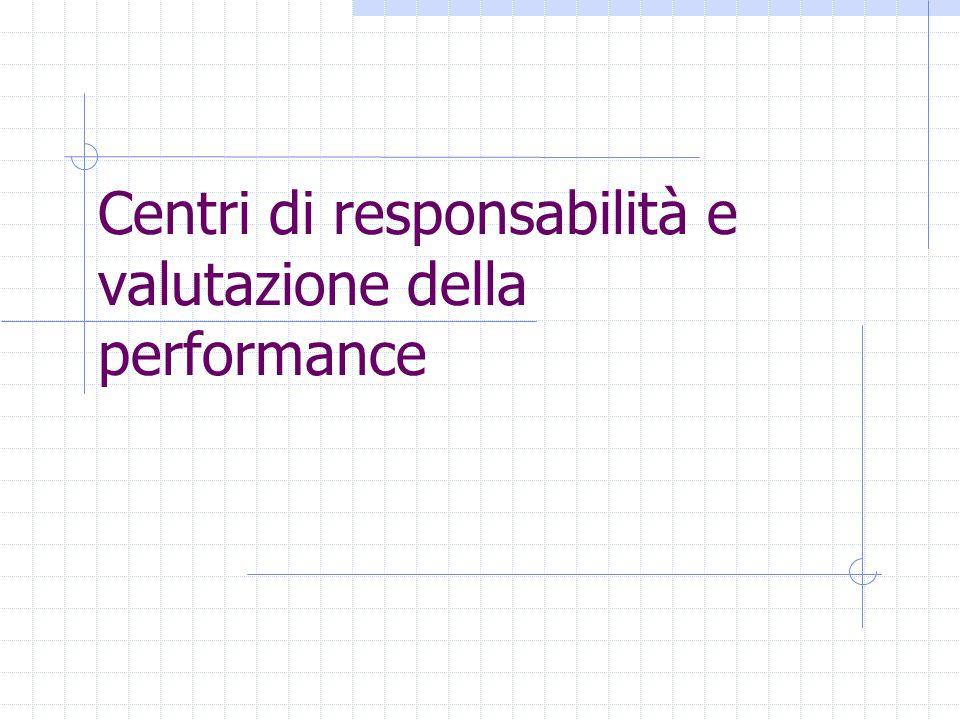 Centri di responsabilità e valutazione della performance