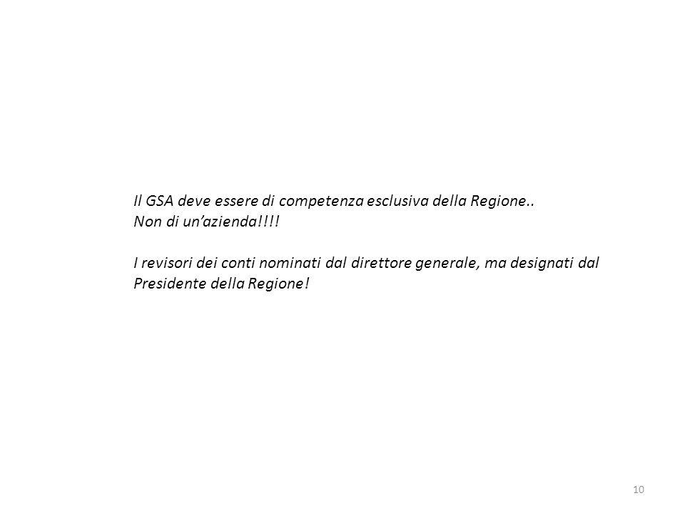 Il GSA deve essere di competenza esclusiva della Regione..