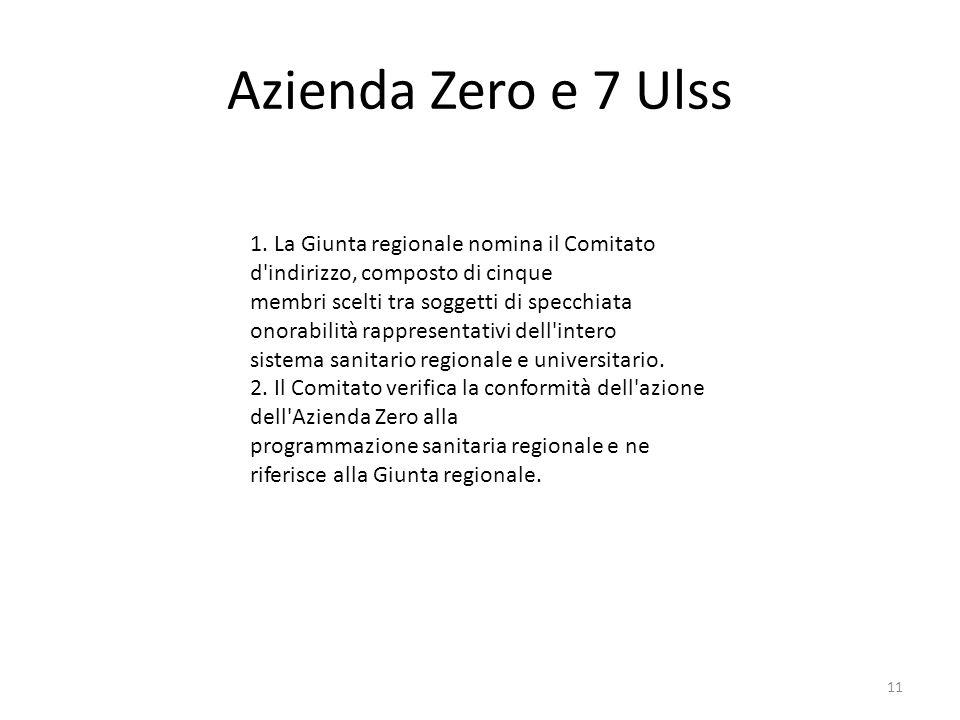 Azienda Zero e 7 Ulss 1. La Giunta regionale nomina il Comitato d indirizzo, composto di cinque.