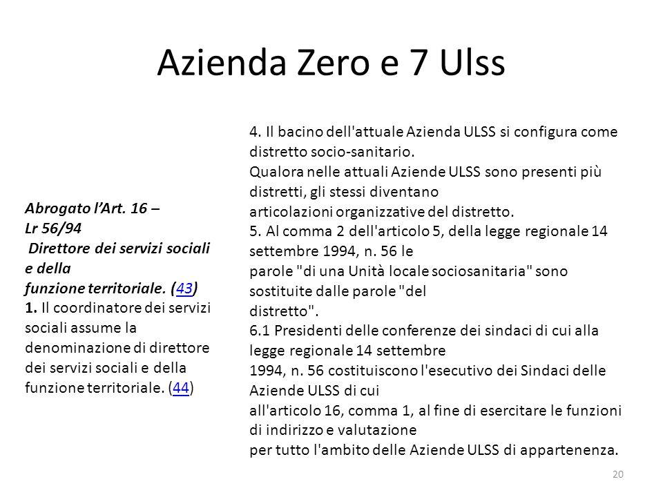 Azienda Zero e 7 Ulss 4. Il bacino dell attuale Azienda ULSS si configura come distretto socio-sanitario.