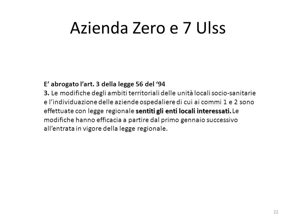 Azienda Zero e 7 Ulss E' abrogato l'art. 3 della legge 56 del '94