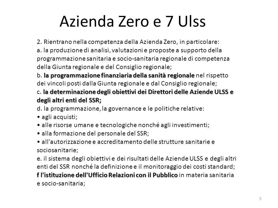 Azienda Zero e 7 Ulss 2. Rientrano nella competenza della Azienda Zero, in particolare: