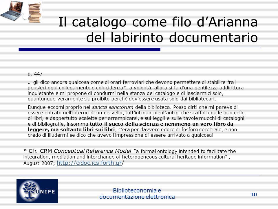 Il catalogo come filo d'Arianna del labirinto documentario