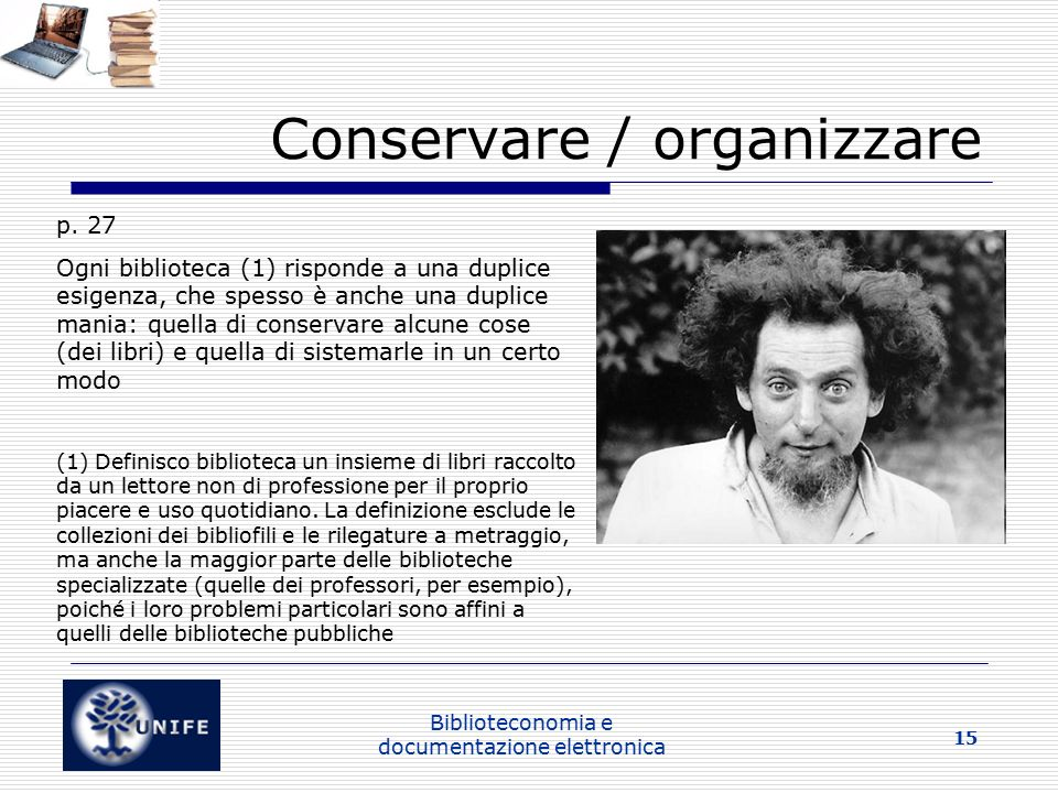 Conservare / organizzare