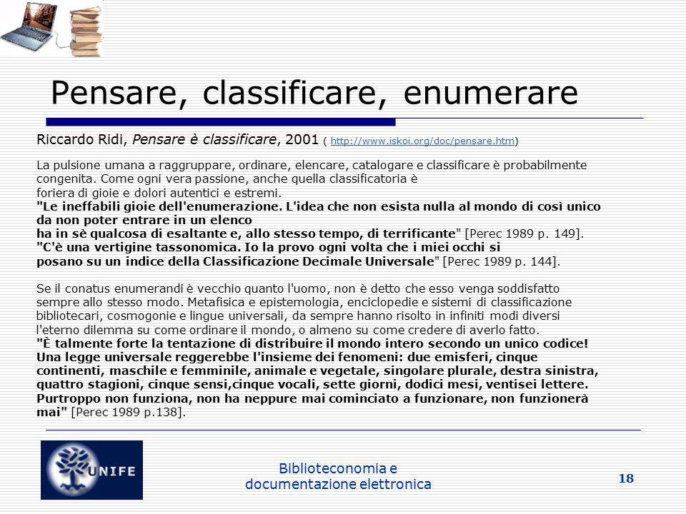 Pensare, classificare, enumerare