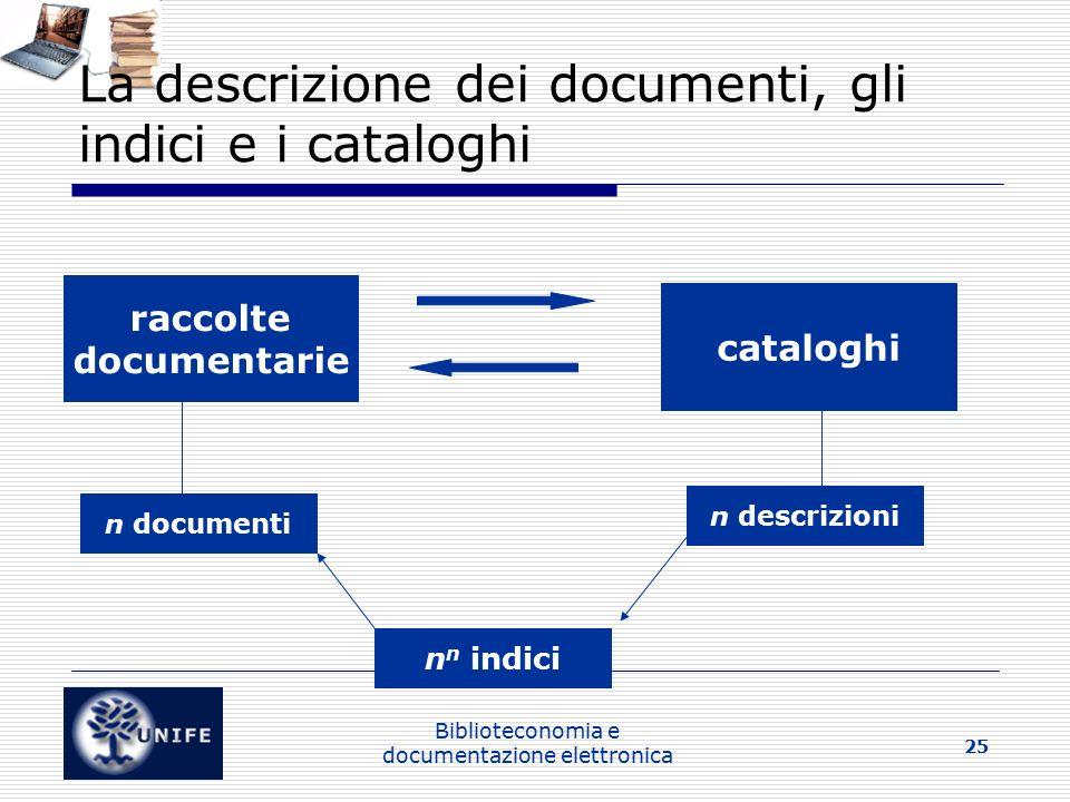 La descrizione dei documenti, gli indici e i cataloghi