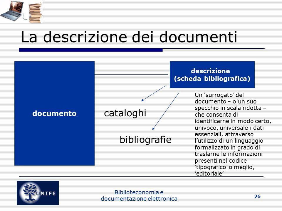 La descrizione dei documenti