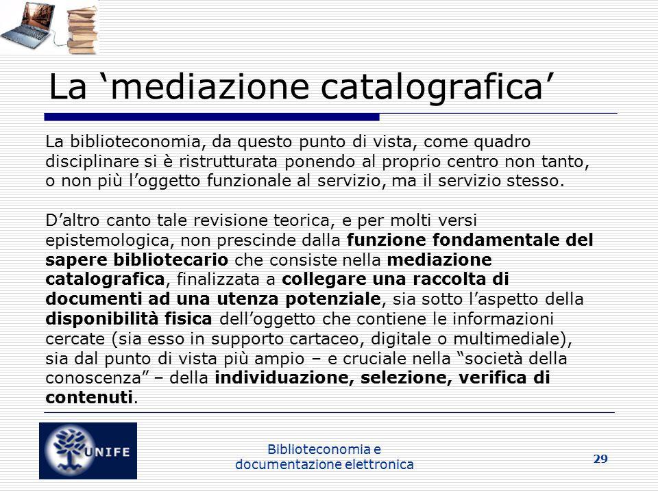 La 'mediazione catalografica'