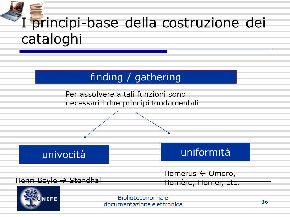I principi-base della costruzione dei cataloghi