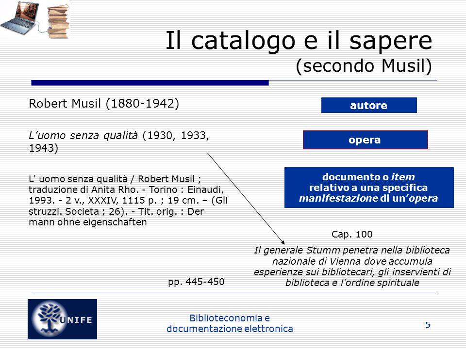 Il catalogo e il sapere (secondo Musil)