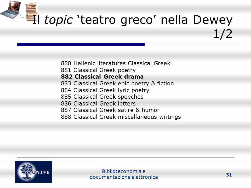 Il topic 'teatro greco' nella Dewey 1/2