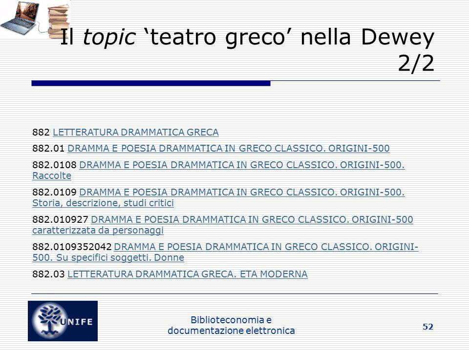 Il topic 'teatro greco' nella Dewey 2/2