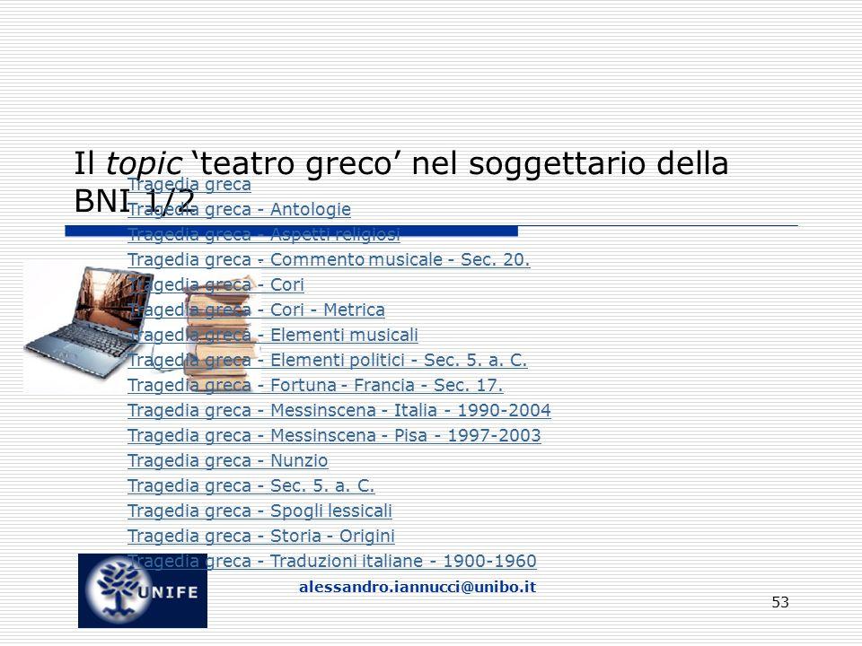 Il topic 'teatro greco' nel soggettario della BNI 1/2