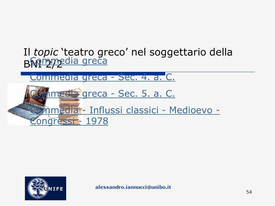 Il topic 'teatro greco' nel soggettario della BNI 2/2