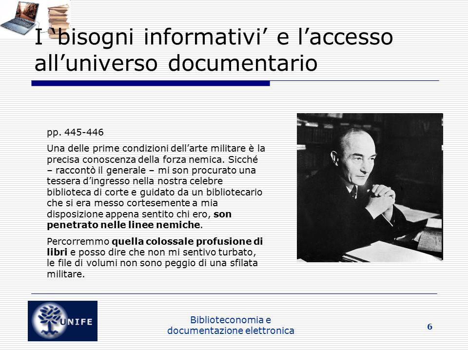 I 'bisogni informativi' e l'accesso all'universo documentario