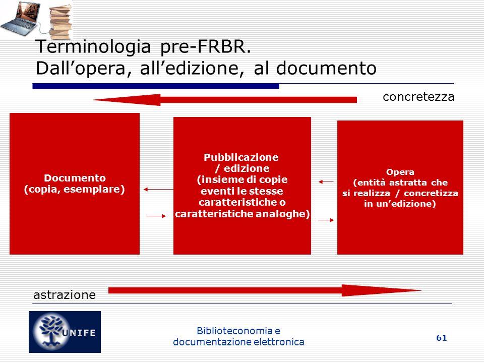 Terminologia pre-FRBR. Dall'opera, all'edizione, al documento