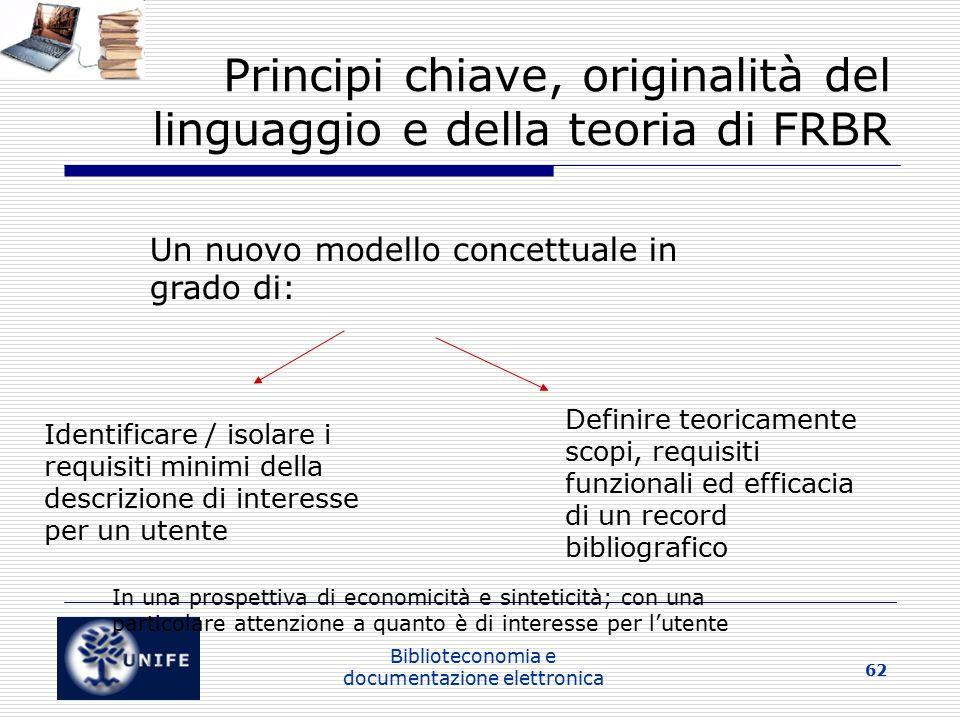 Principi chiave, originalità del linguaggio e della teoria di FRBR