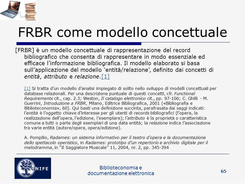 FRBR come modello concettuale