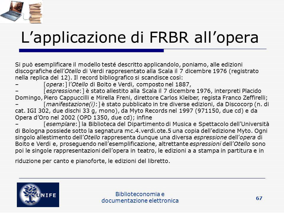 L'applicazione di FRBR all'opera