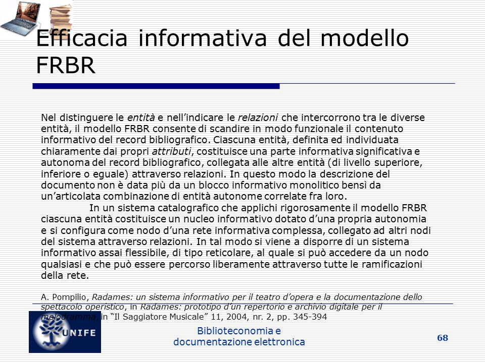 Efficacia informativa del modello FRBR