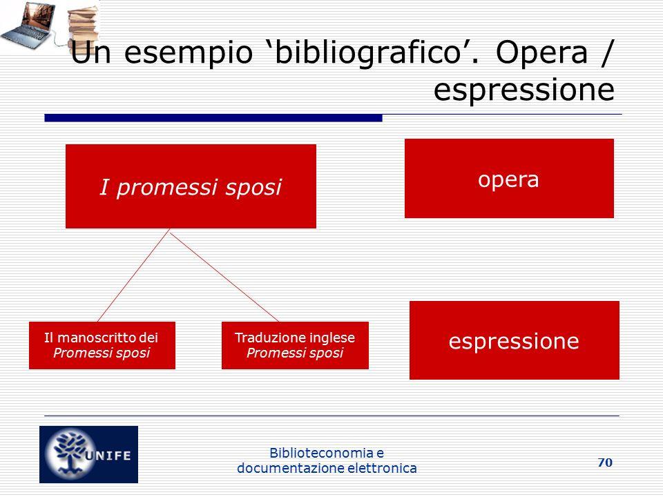 Un esempio 'bibliografico'. Opera / espressione