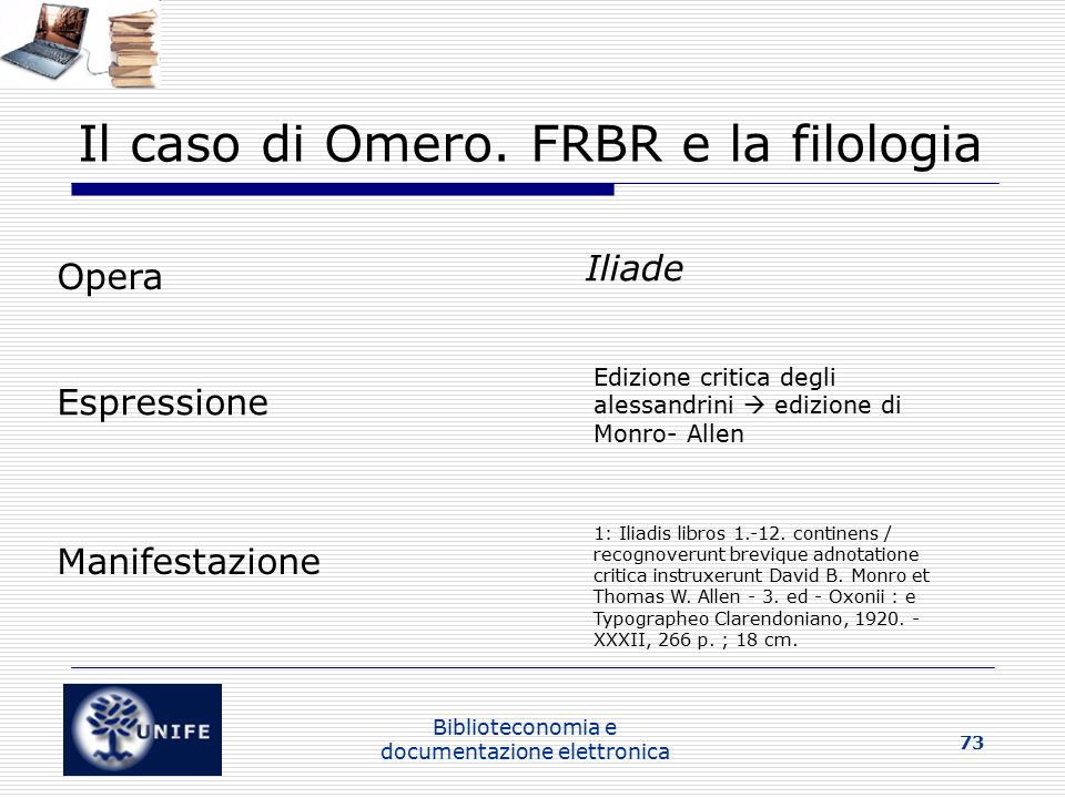 Il caso di Omero. FRBR e la filologia
