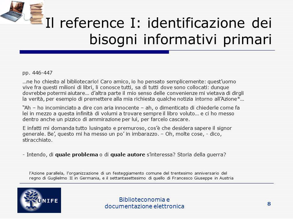 Il reference I: identificazione dei bisogni informativi primari