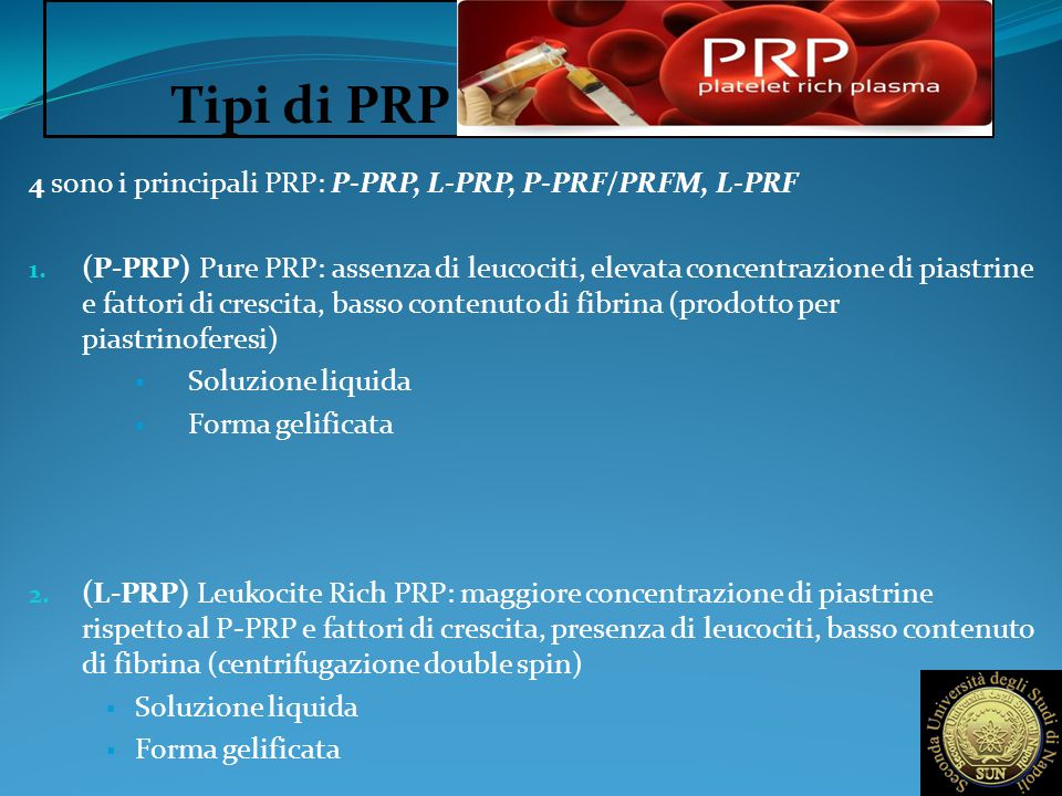 Tipi di PRP 4 sono i principali PRP: P-PRP, L-PRP, P-PRF/PRFM, L-PRF
