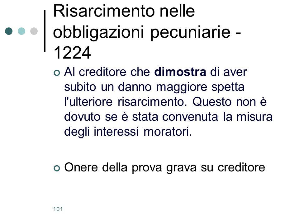 Risarcimento nelle obbligazioni pecuniarie - 1224