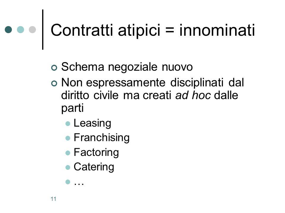 Contratti atipici = innominati