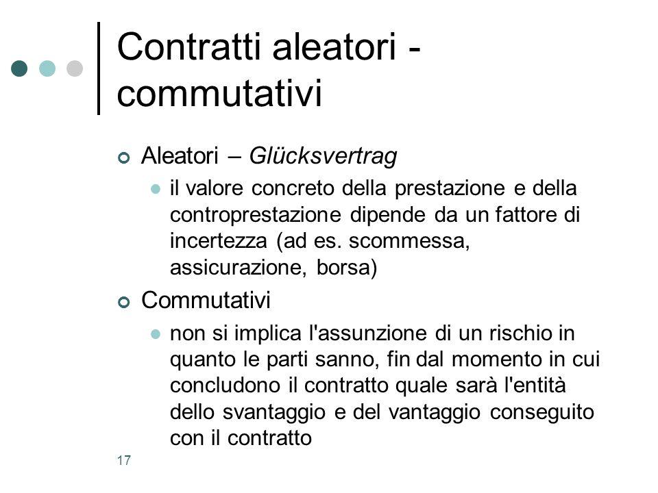 Contratti aleatori - commutativi
