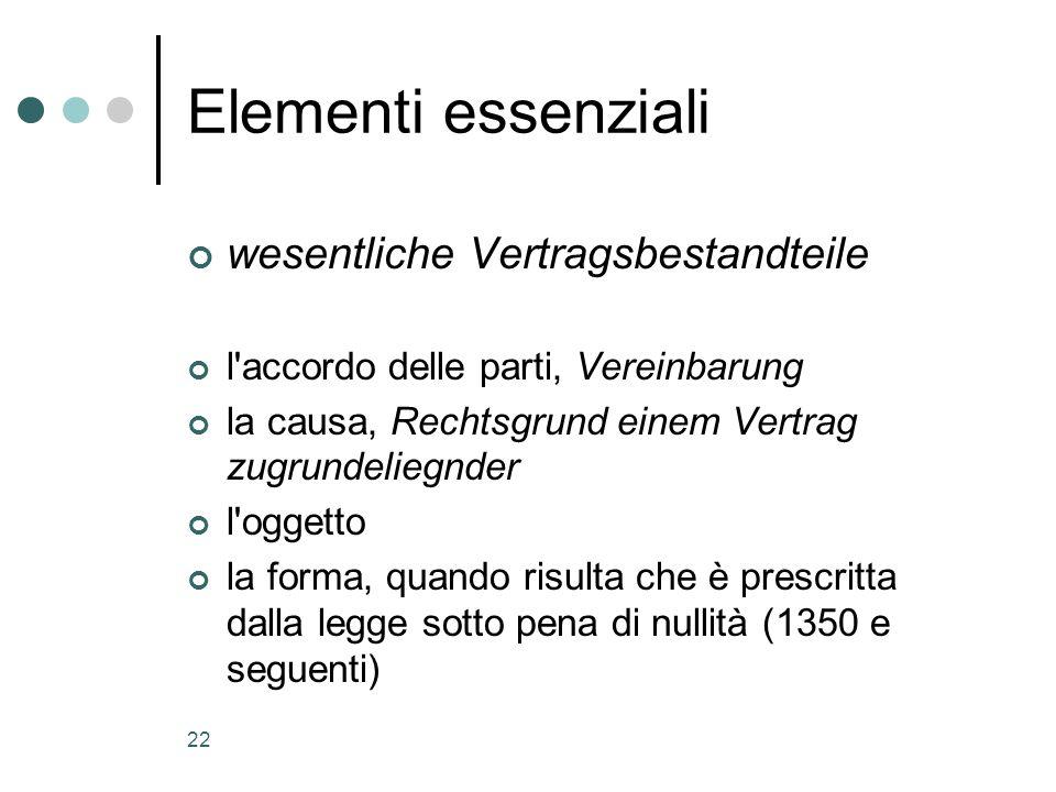 Elementi essenziali wesentliche Vertragsbestandteile
