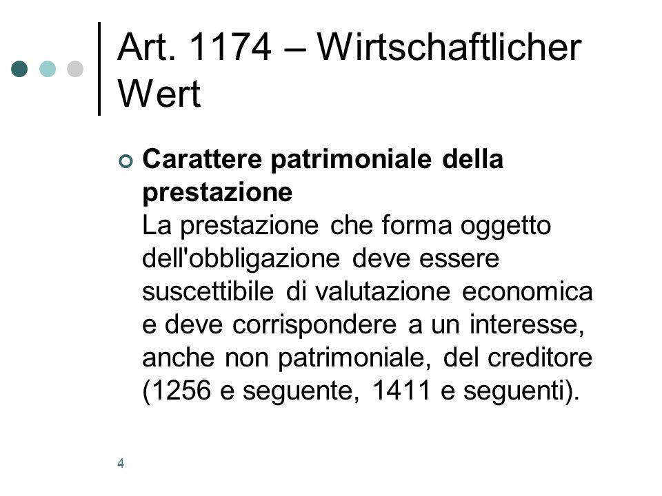 Art. 1174 – Wirtschaftlicher Wert