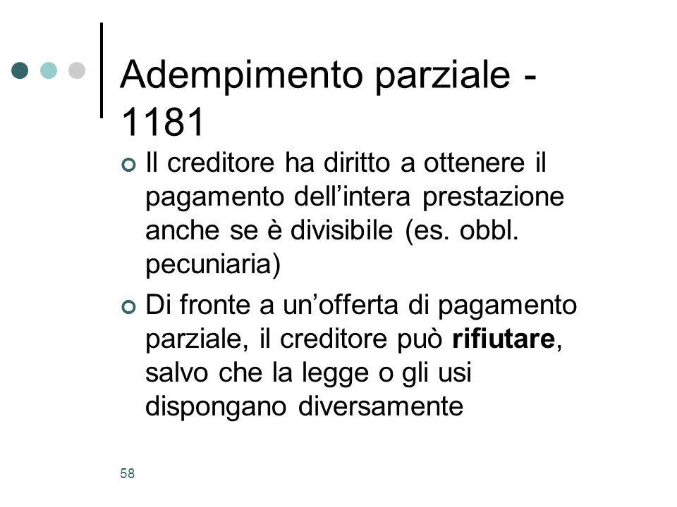 Adempimento parziale - 1181