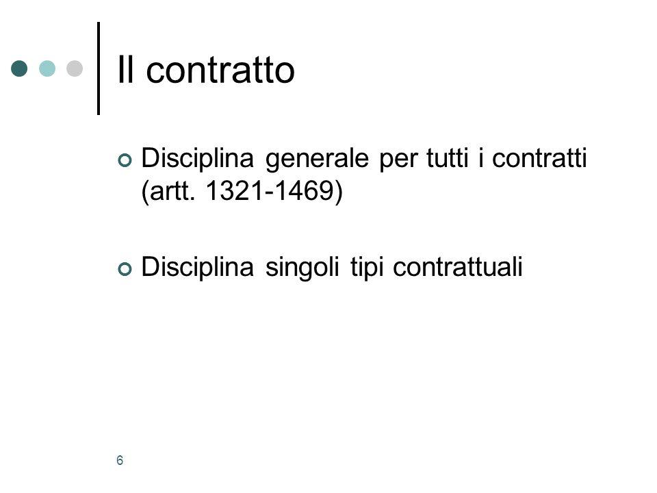 Il contratto Disciplina generale per tutti i contratti (artt.
