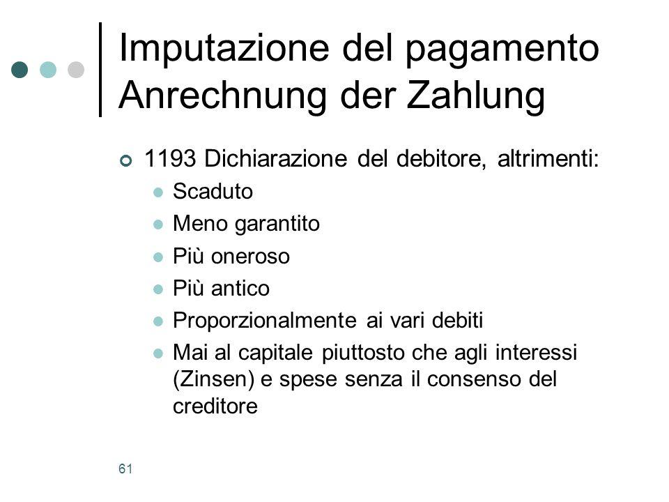 Imputazione del pagamento Anrechnung der Zahlung