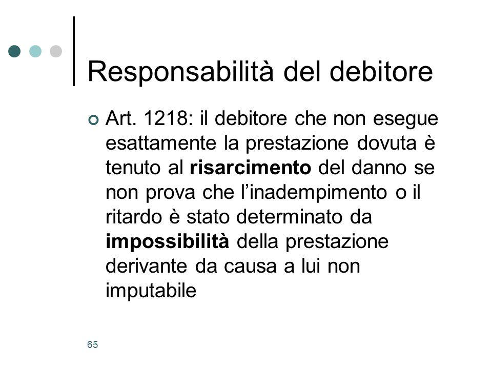 Responsabilità del debitore