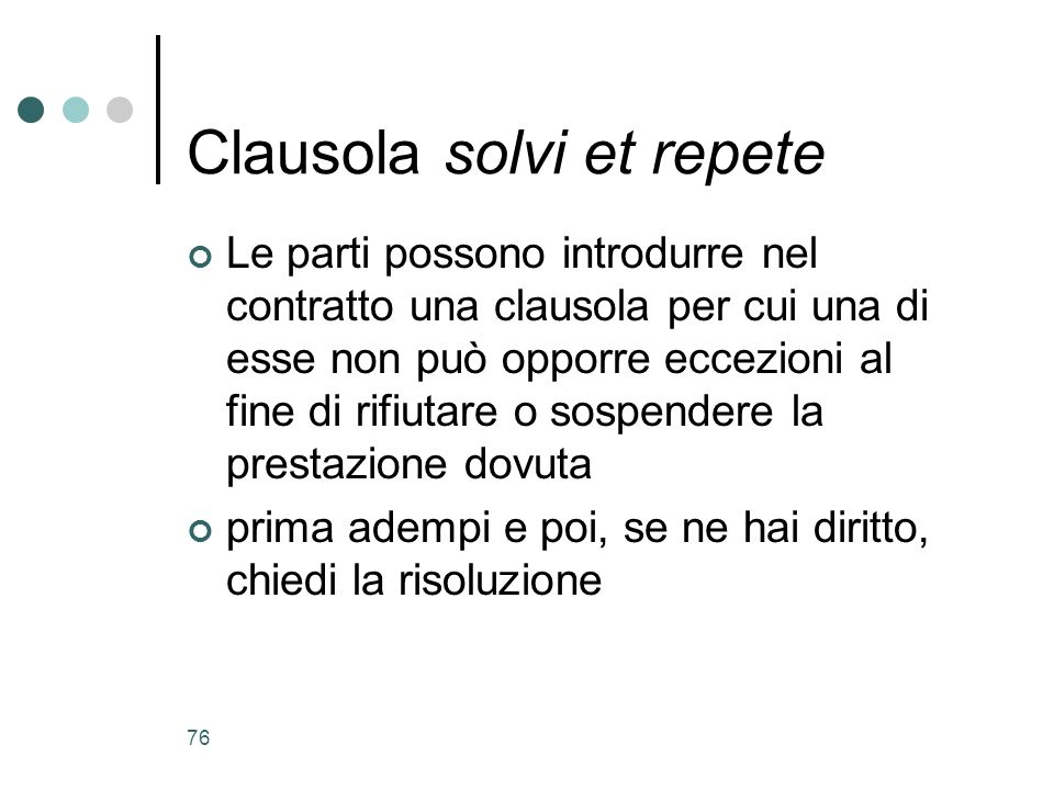 Clausola solvi et repete