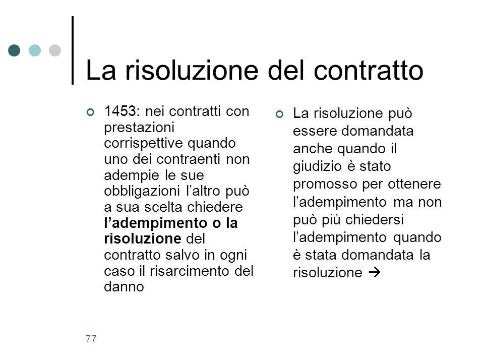 La risoluzione del contratto