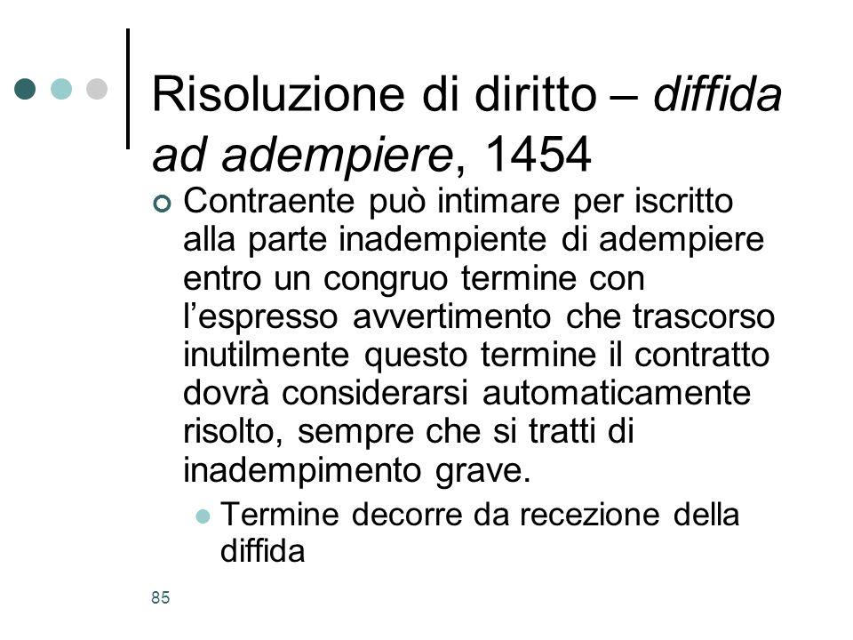 Risoluzione di diritto – diffida ad adempiere, 1454