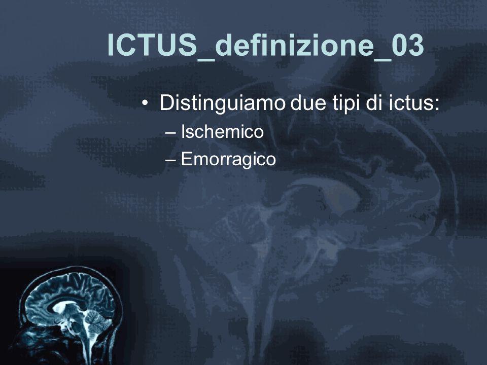 ICTUS_definizione_03 Distinguiamo due tipi di ictus: Ischemico