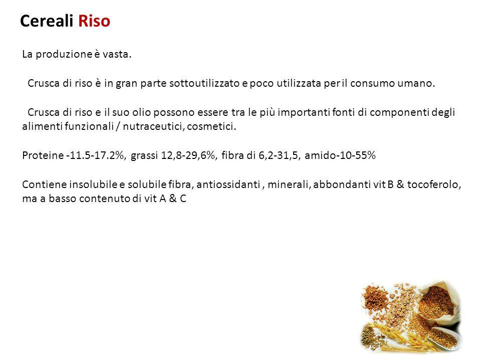 Cereali Riso La produzione è vasta. Crusca di riso è in gran parte sottoutilizzato e poco utilizzata per il consumo umano.