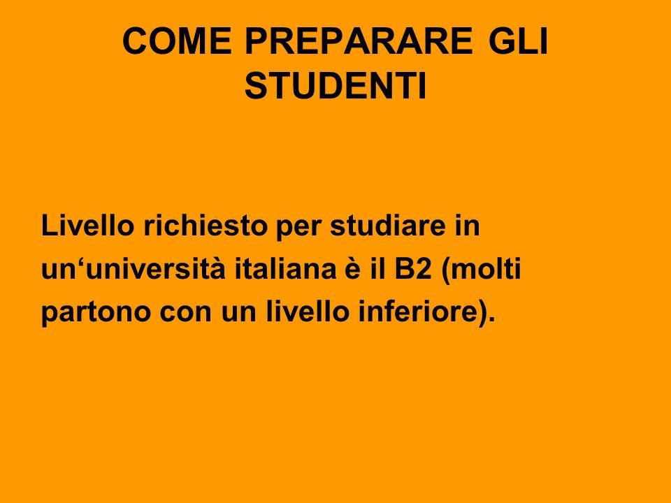 COME PREPARARE GLI STUDENTI