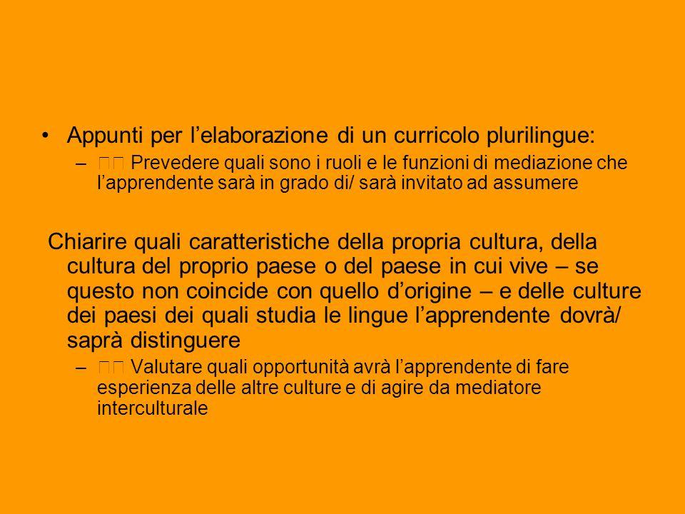 Appunti per l'elaborazione di un curricolo plurilingue: