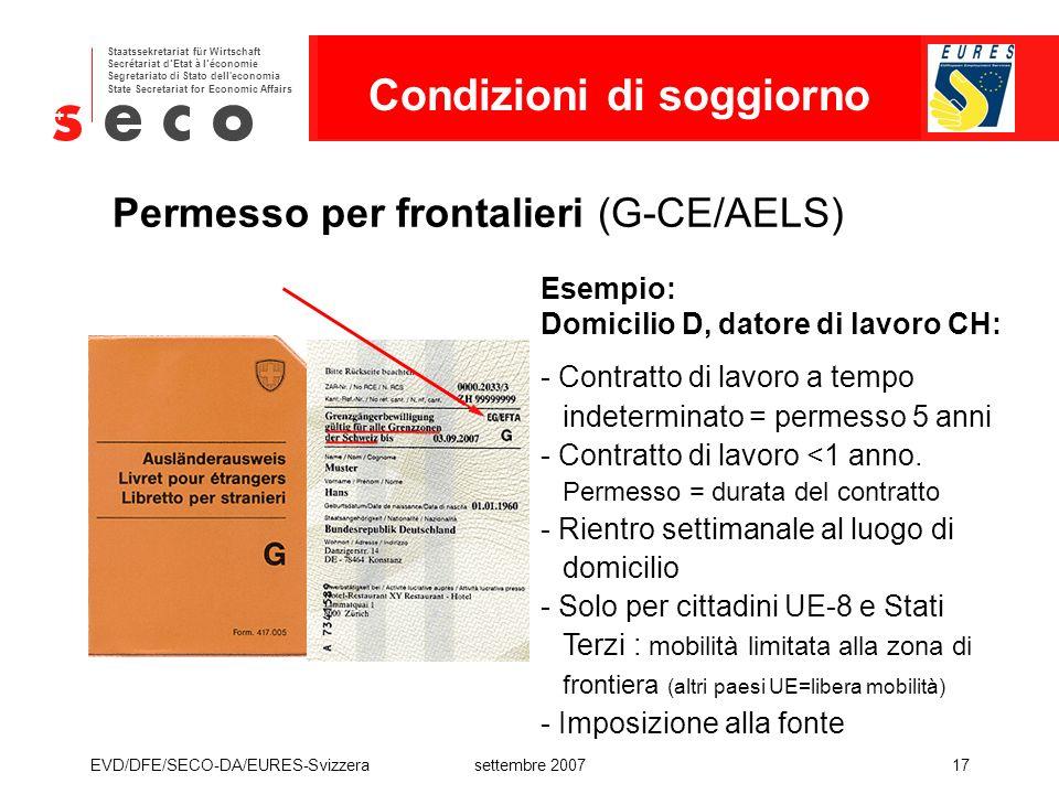 Permesso per frontalieri (G-CE/AELS)