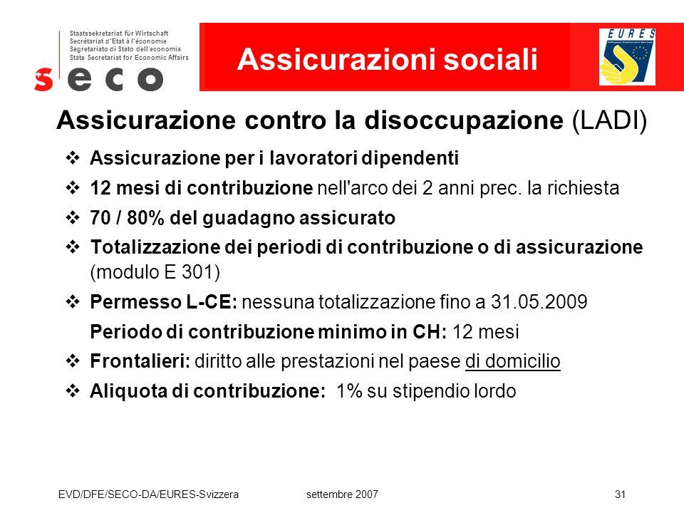 Assicurazione contro la disoccupazione (LADI)