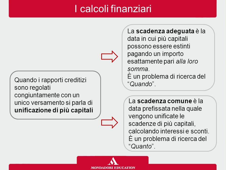 I calcoli finanziari La scadenza adeguata è la data in cui più capitali possono essere estinti pagando un importo esattamente pari alla loro somma.