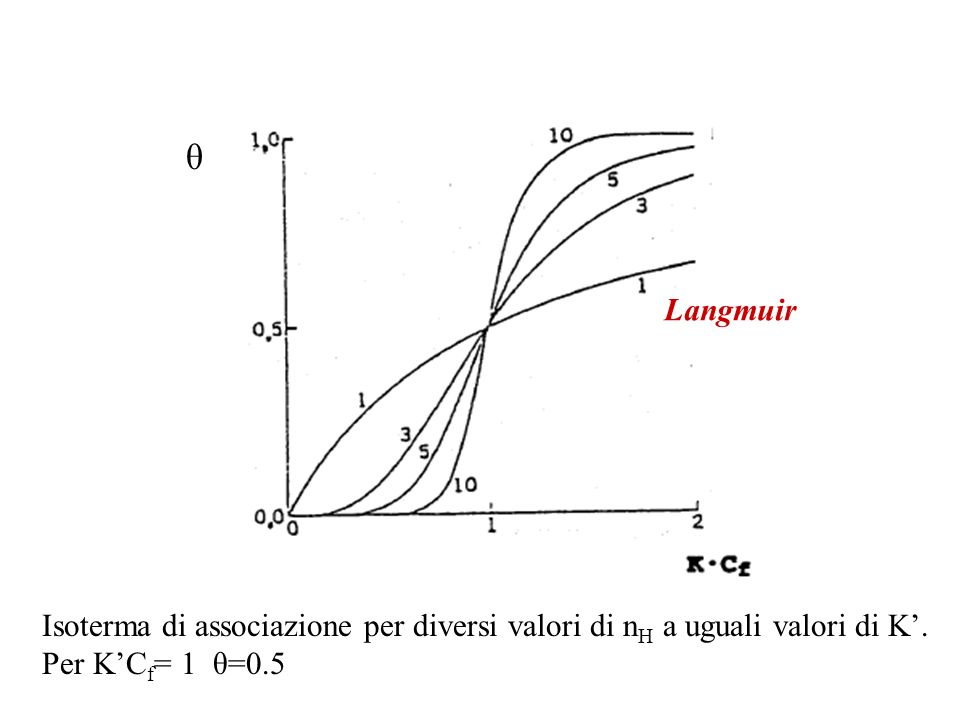 θ Langmuir. Isoterma di associazione per diversi valori di nH a uguali valori di K'.