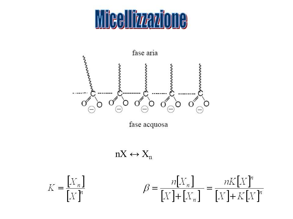 Micellizzazione nX ↔ Xn
