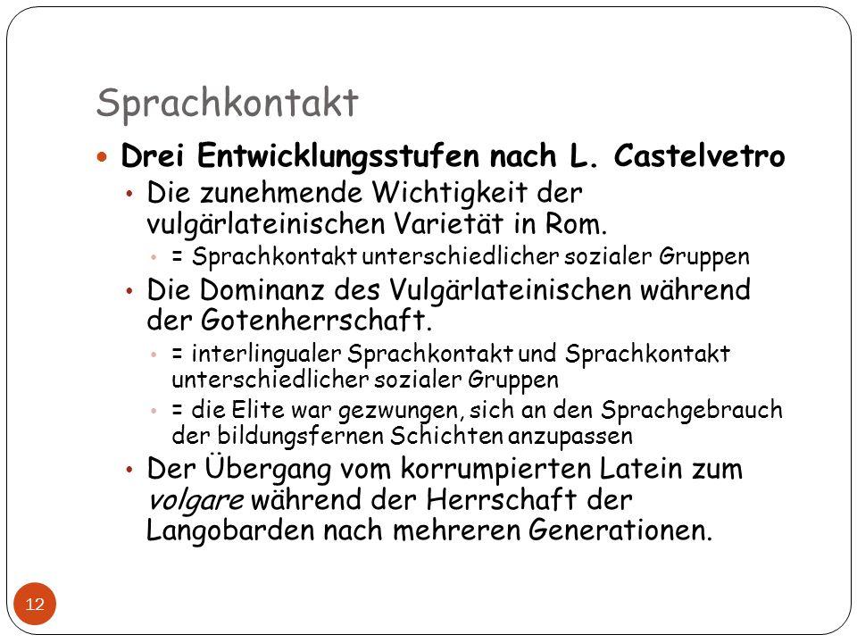 Sprachkontakt Drei Entwicklungsstufen nach L. Castelvetro